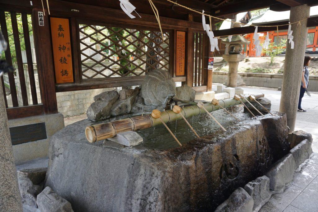 A water cleansing area at Sumiyoshi taisha in Osaka