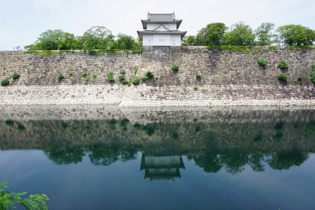 Water (a moat) around a Japanese castle