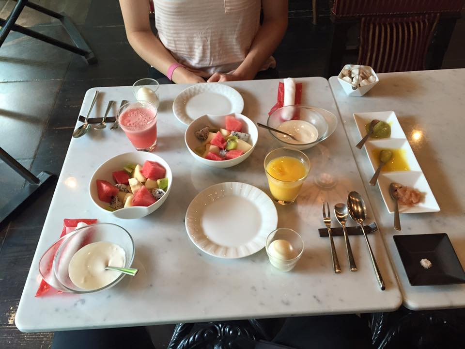 Breakfast spread at Hotel Mume in Kyoto, Japan