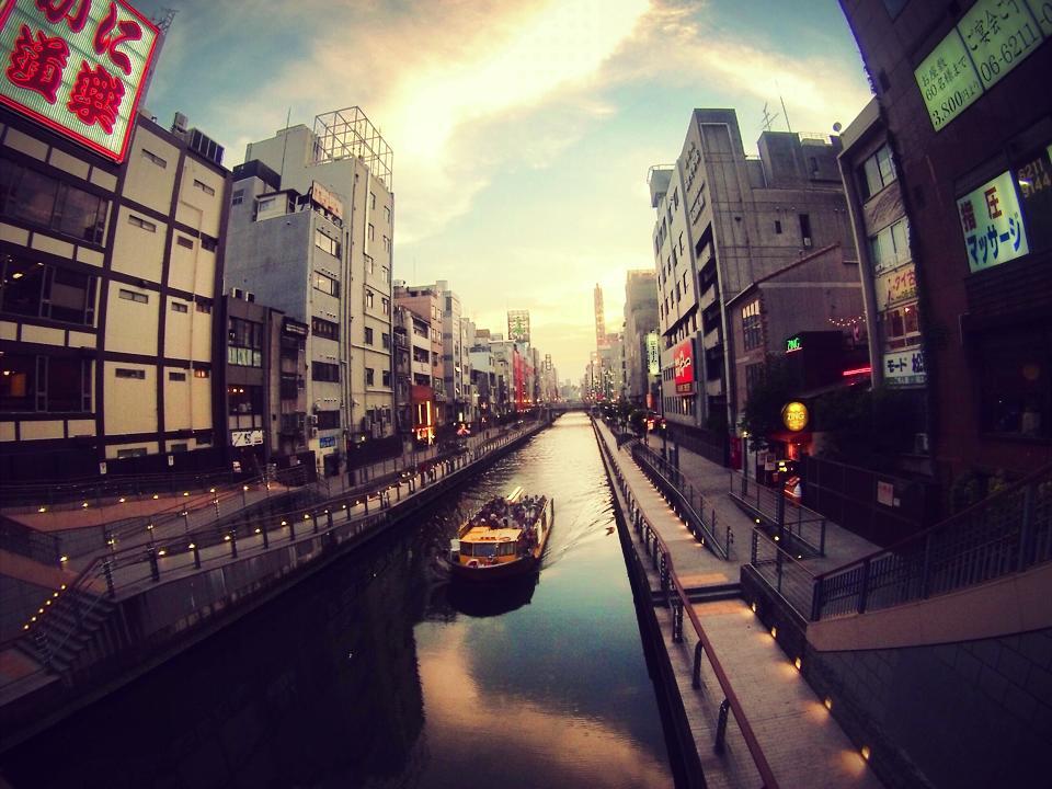 Sunset over a canal in Dotonbori - Osaka, Japan
