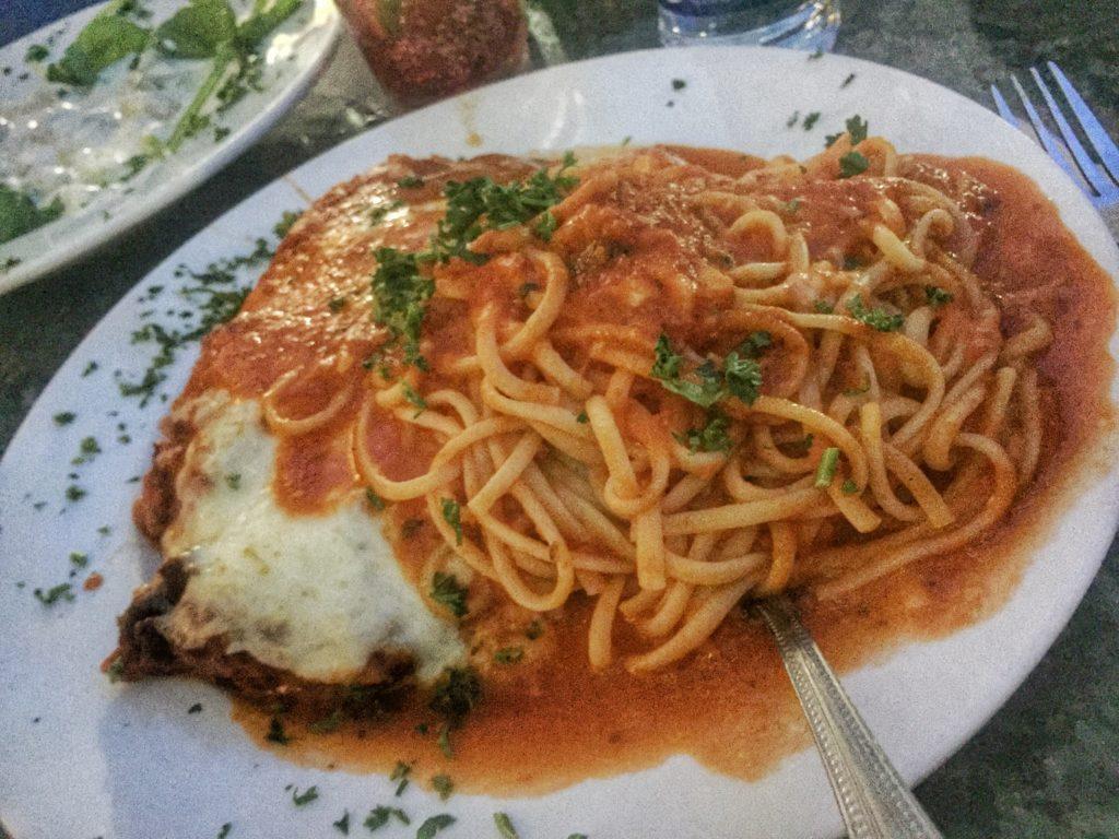 Chicken Parmesan with Spaghetti at Venezia Restaurant in Sarasota, Florida   Sarasota Dining   Lido Key   St. Armand's Circle   Italian Food