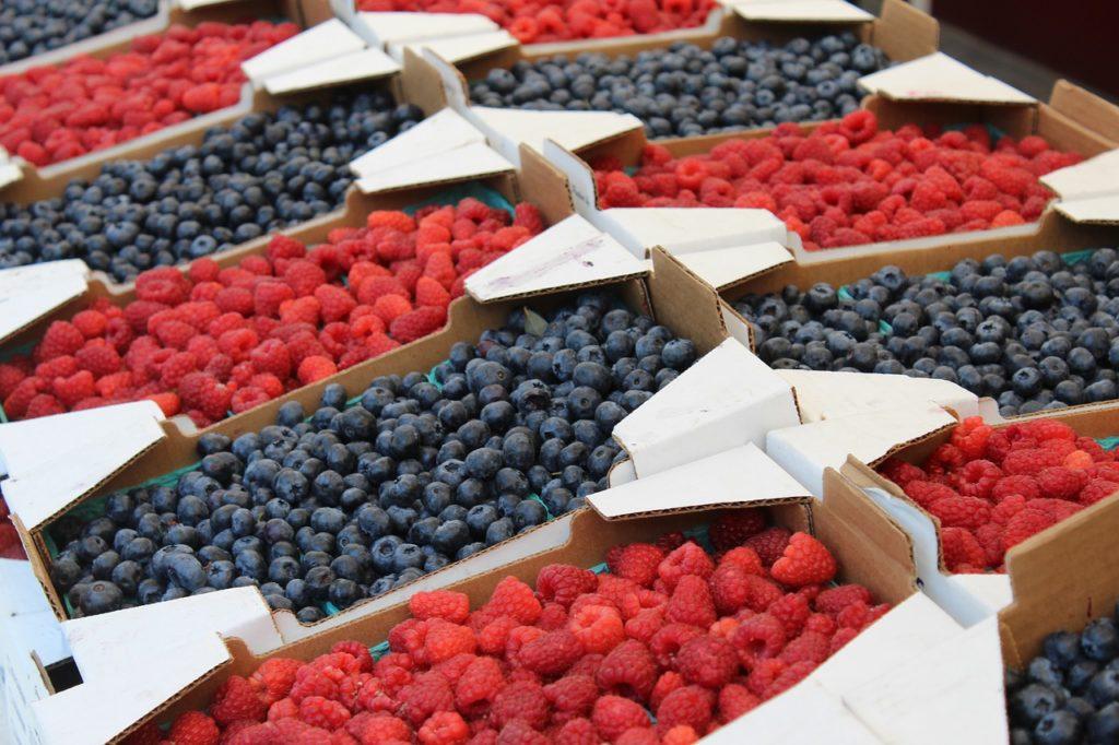 Fresh berries from the Cherry Street Farmer's Market in Tulsa