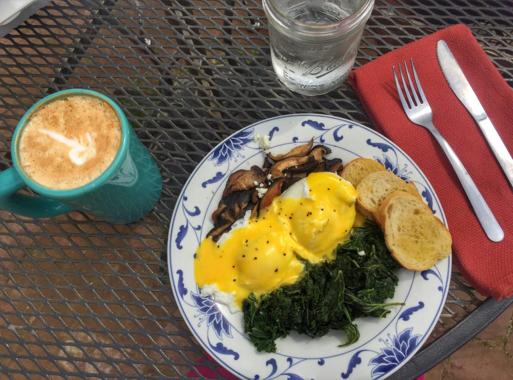 Eggs benedict at the Root Cafe in Little Rock, Arkansas