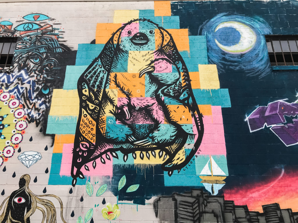 Sloth Mural by Andy Herod - Asheville coolest street art