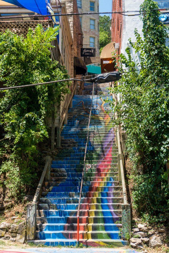 Colorful stairs in Eureka Springs, Arkansas
