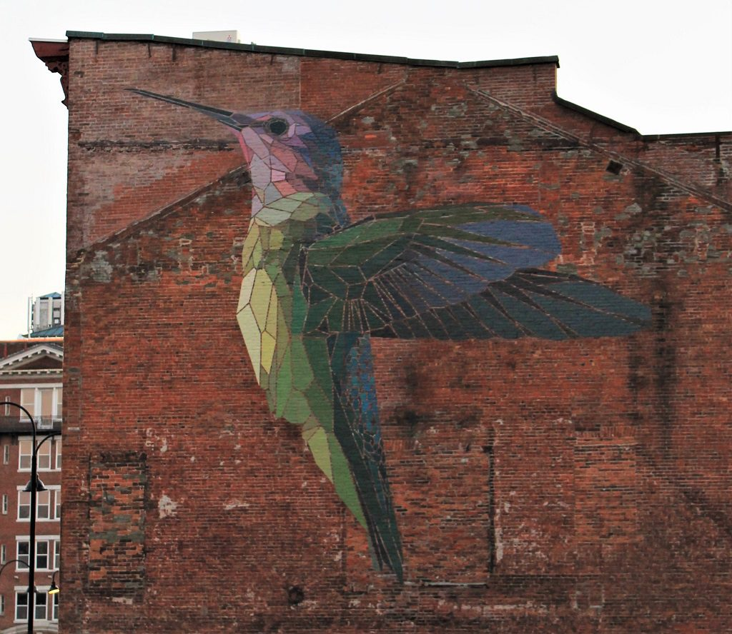 Hummingbird street art mural in Vermont