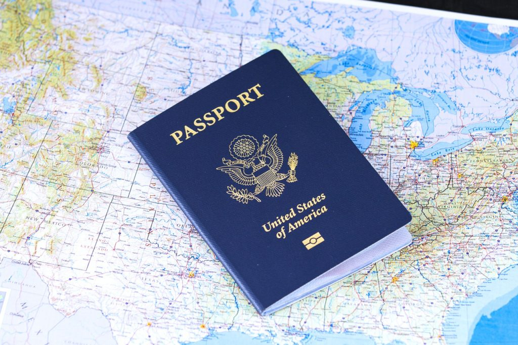 United States Passport on a map - travel itinerary planner