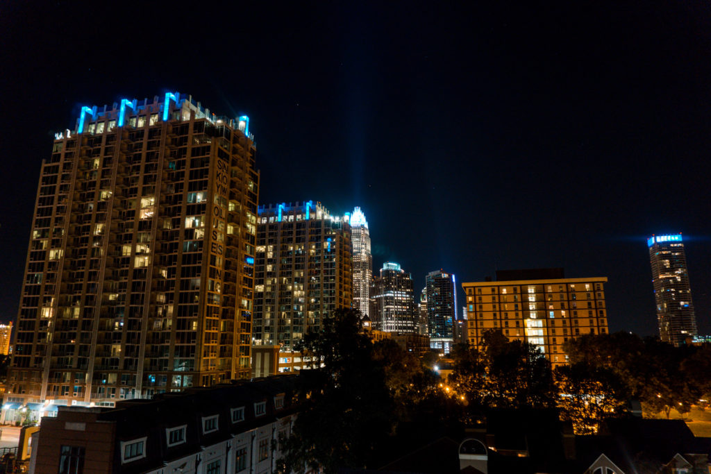 City view from rooftop bar in Charlotte