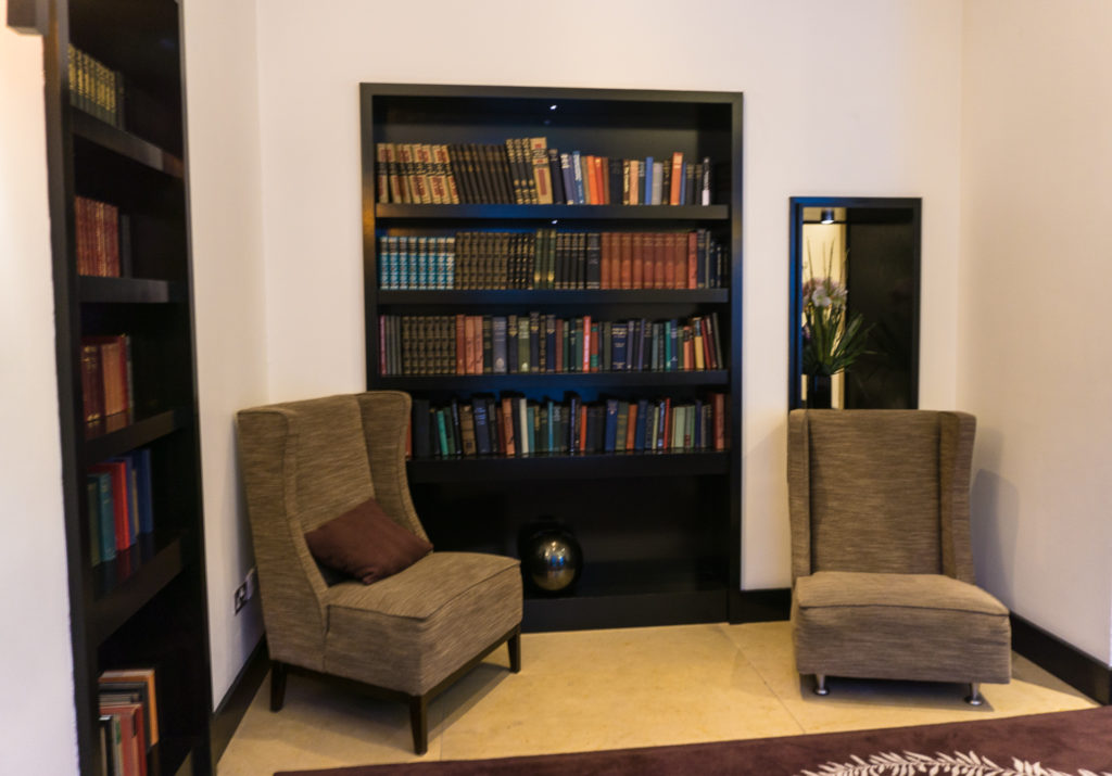 Library in the lobby and hotel grounds of the Croke Park Hotel in Dublin
