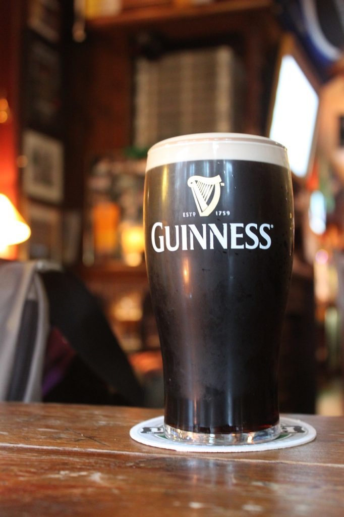 A cold pint of Guinness at the Guinness Storehouse