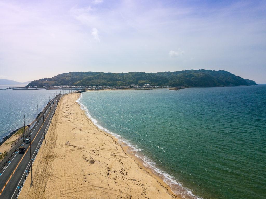 Aerial view of Shikanoshima Bridge and Beach