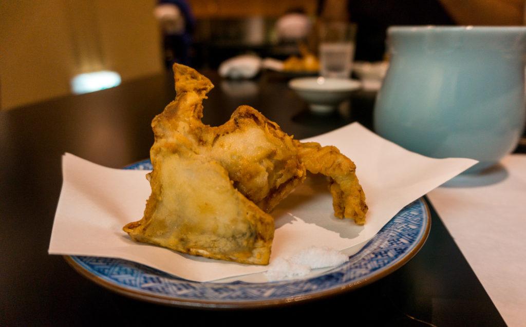 Fried fugu (blowfish) at Hakata Izumi in Fukuoka, Japan