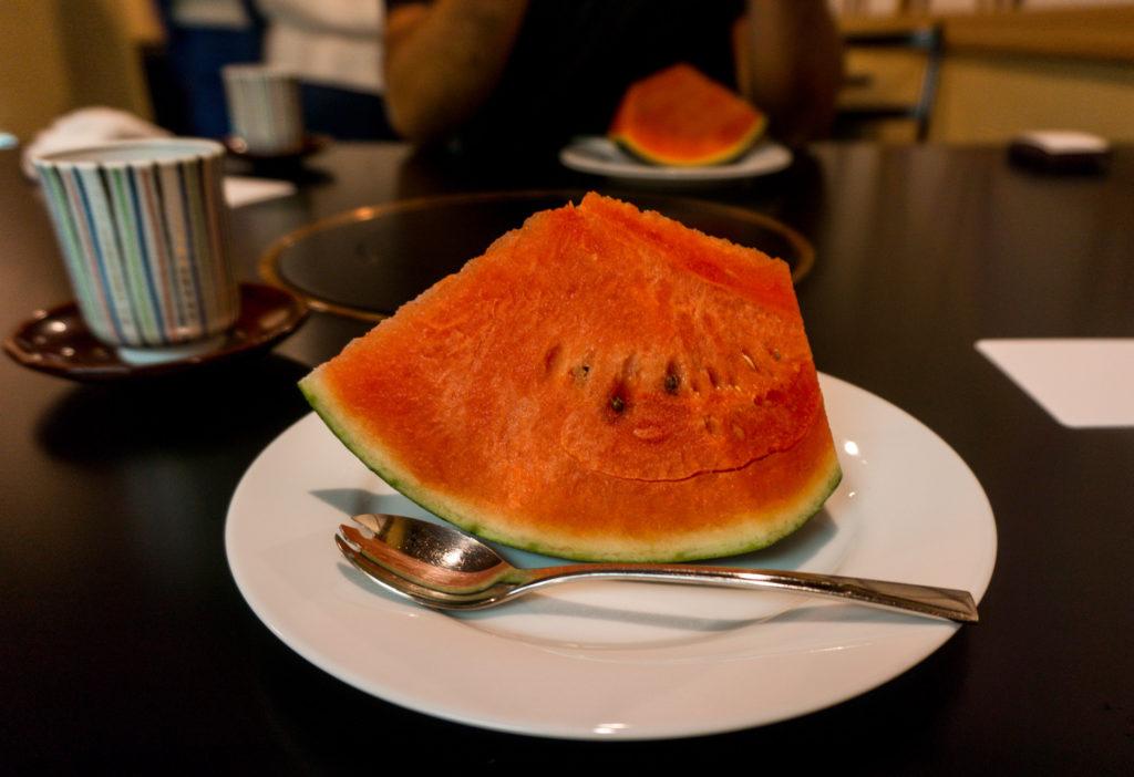 A slice of fresh watermelon at Hakata Izumi in Fukuoka, Japan