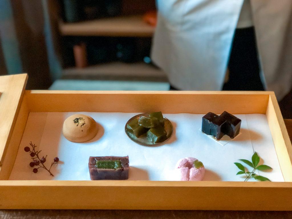 Selection of seasonal wagashi and Japanese sweets at YOROZU