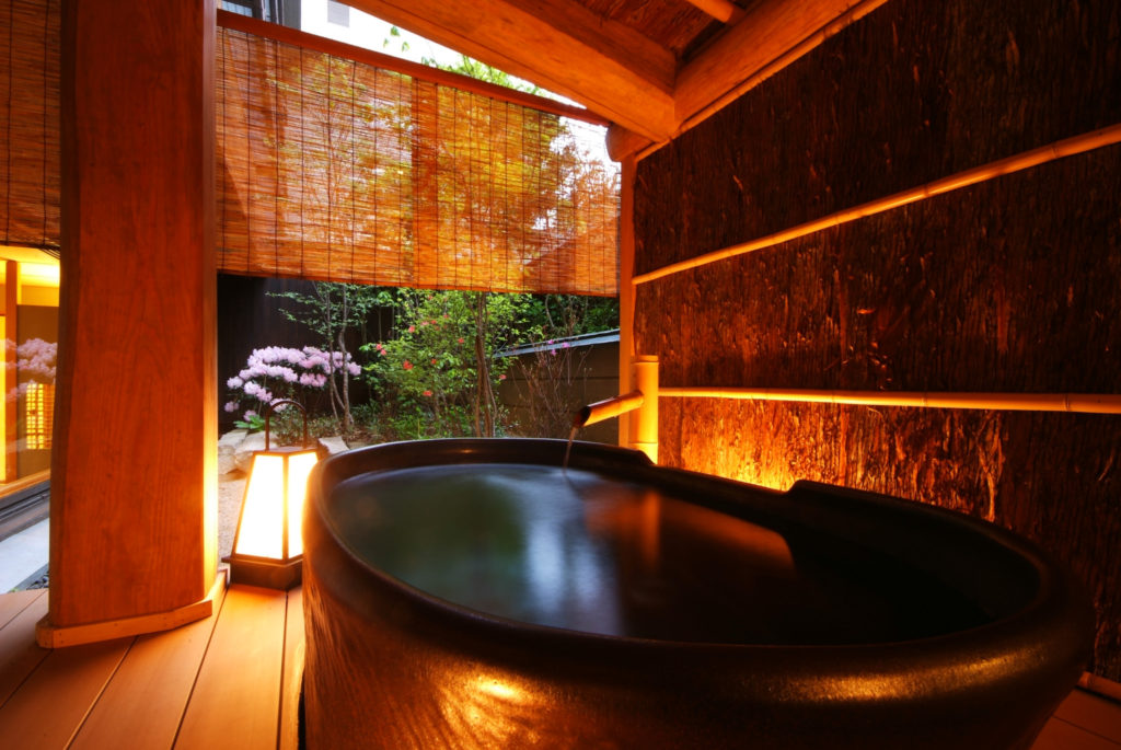 Japanese-style superior room open air bath at Nishimuraya Honkan Shogetsutei - Kinosaki Onsen, Japan