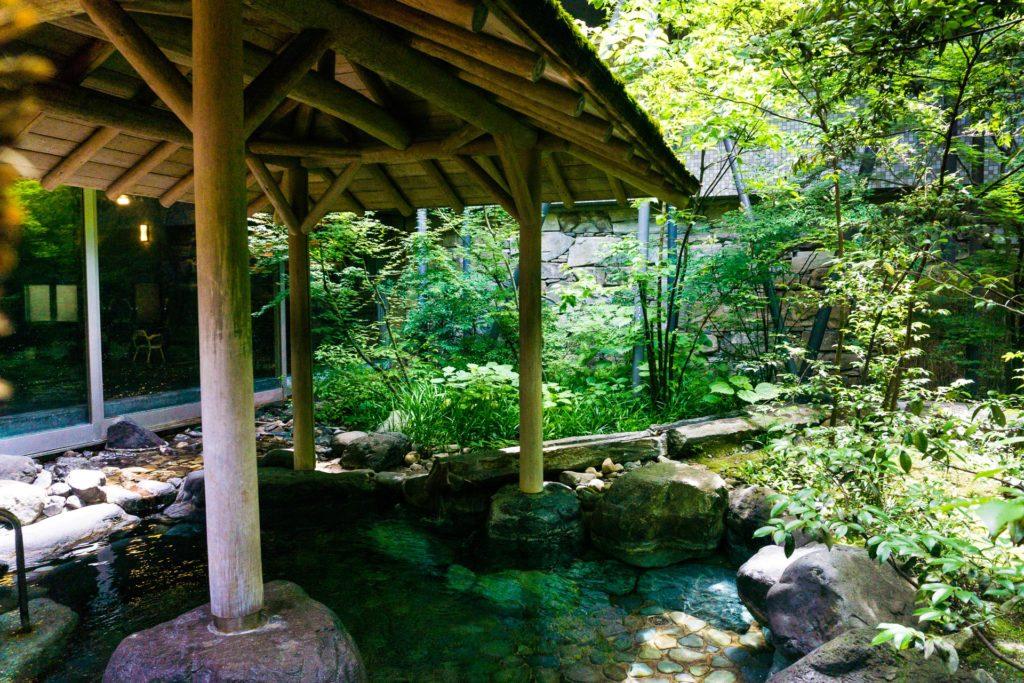 Outdoor onsen at Kinosaki Onsen.