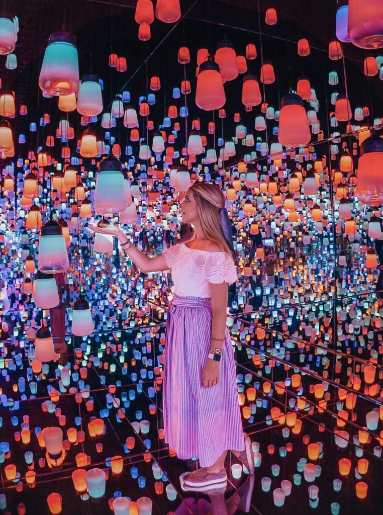 Room of colorful lanterns at the Mori Digital Art Museum in Tokyo, Japan