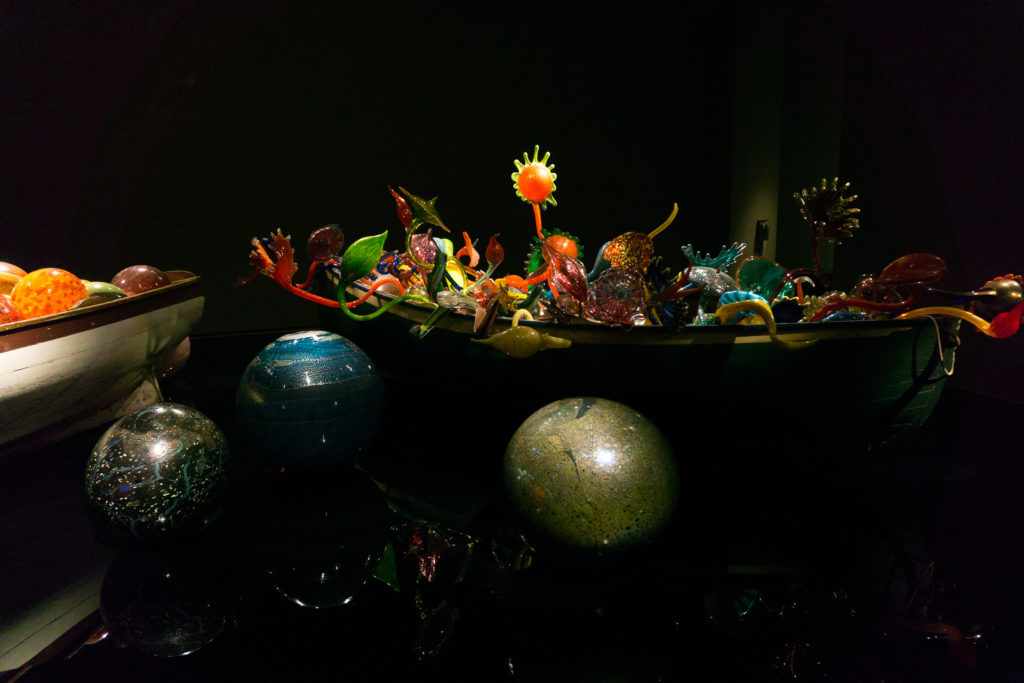 Pieces of blown glass inside the Chihuly exhibit in the Oklahoma City Museum of Art