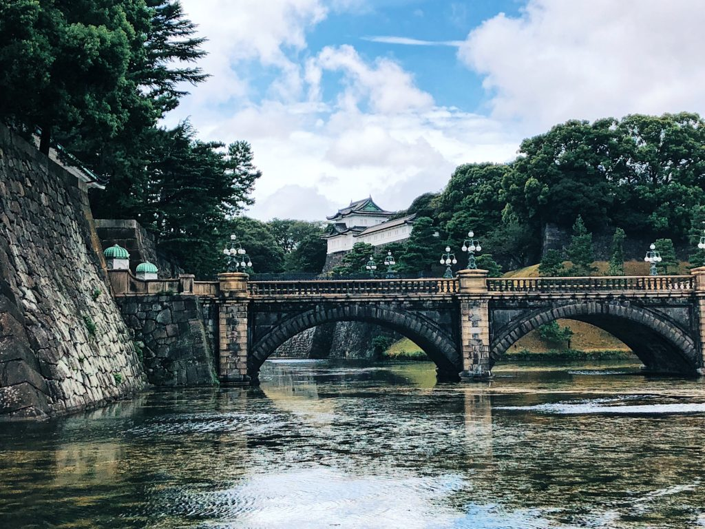 Body of water with a bridge crossing it, in the background is Tokyo Imperial Palace