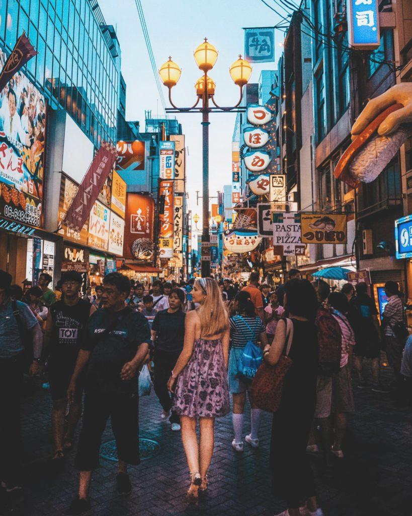 Crowded streets of Dotonbori in Osaka, Japan