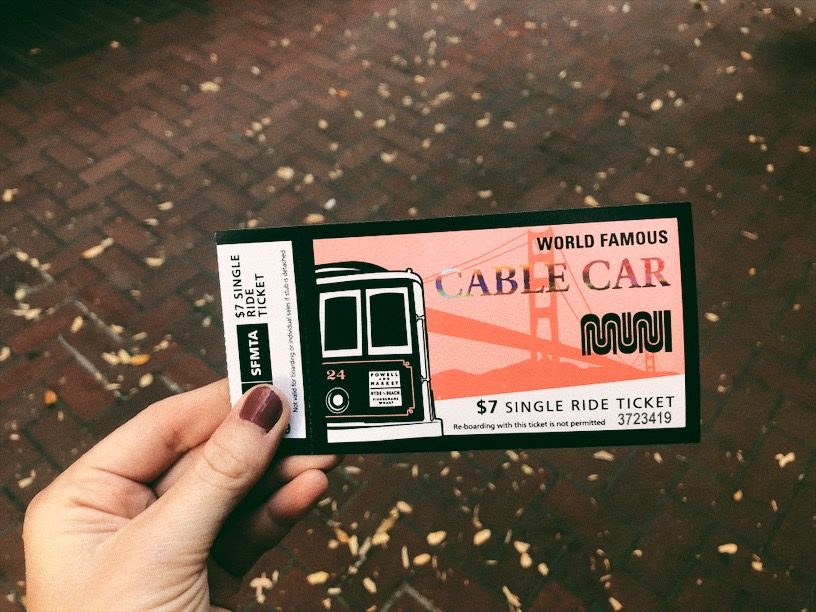 Ticket for the cable car in San Francisco