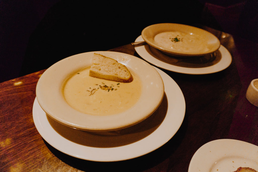 Crab & Corn Bisque (front left), Clam Chowder (back rear)