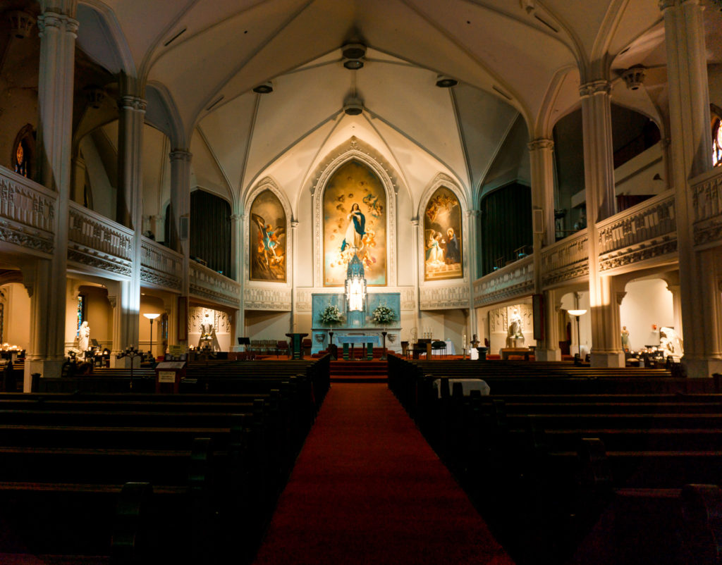 The inside of Old St. Mary's Cathedral in Chinatown San Francisco