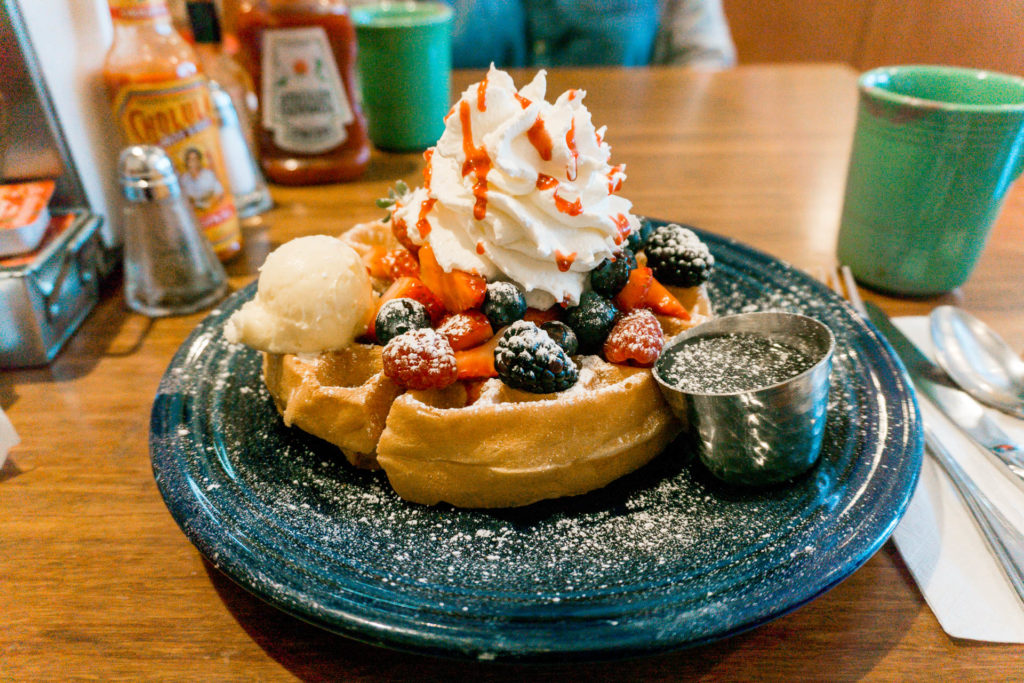 Fresh berries waffle from Eight AM in San Francisco