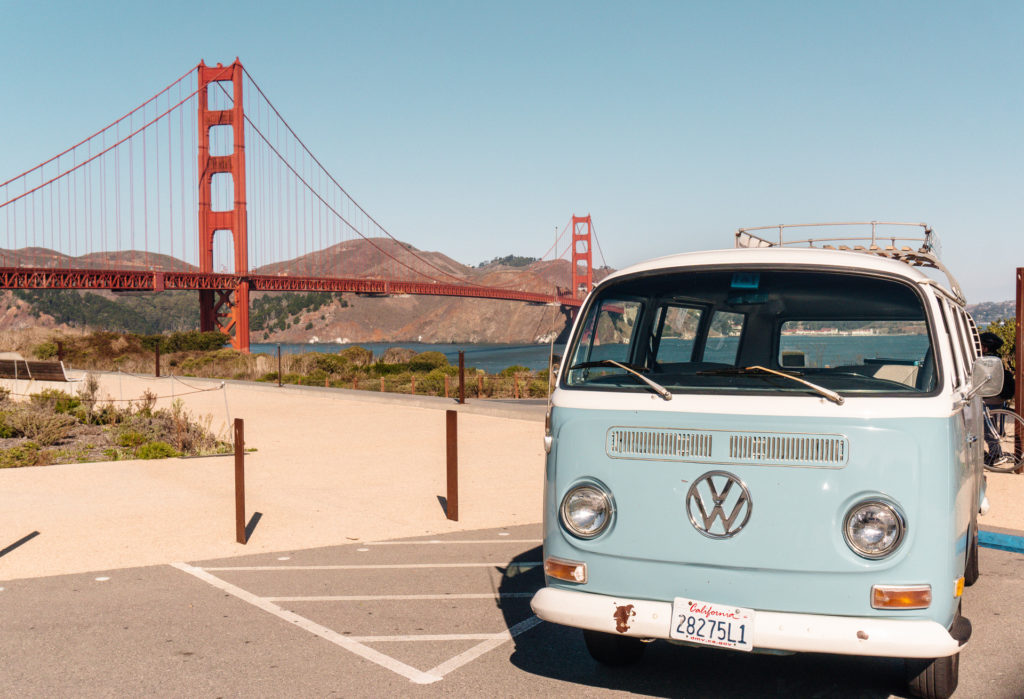 VW Bus in front of Golden Gate Bridge - San Francisco