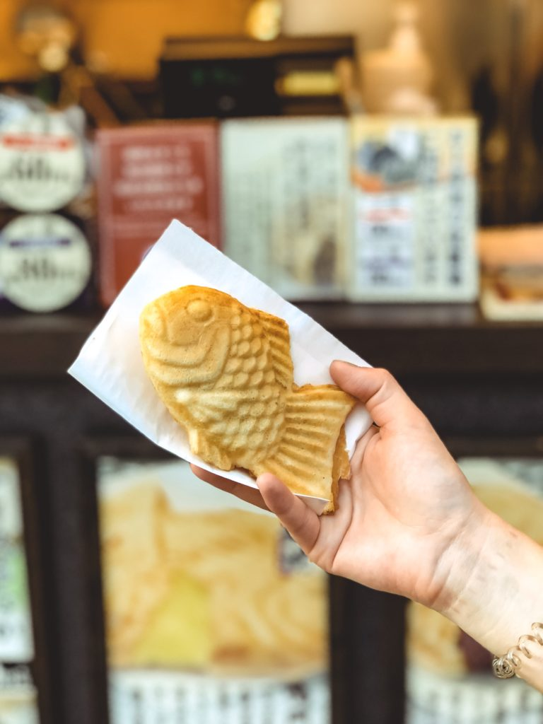 Fish shaped cake called a Taiyaki.