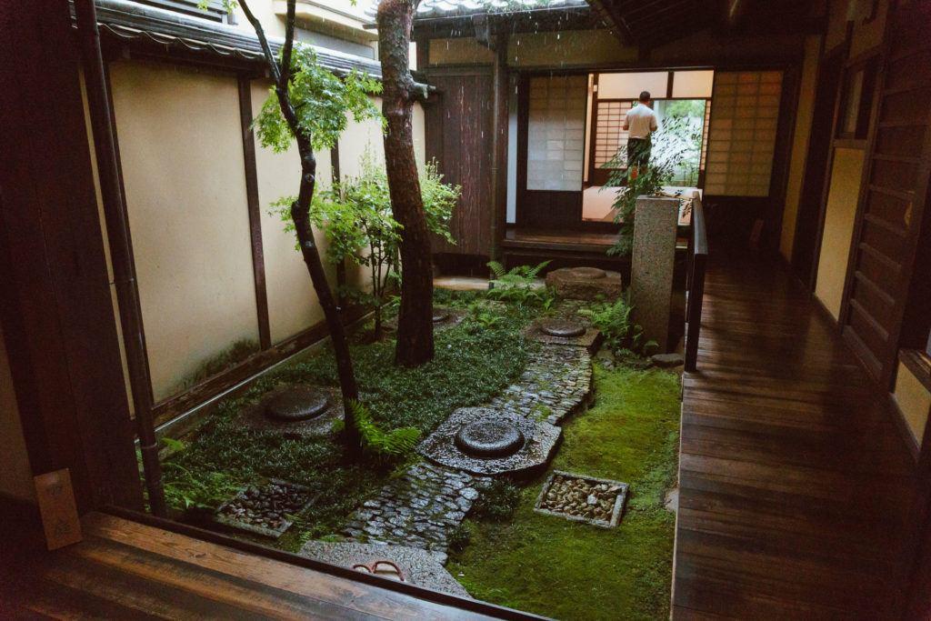 Garden inside an old Japanese home in Nara, Japan