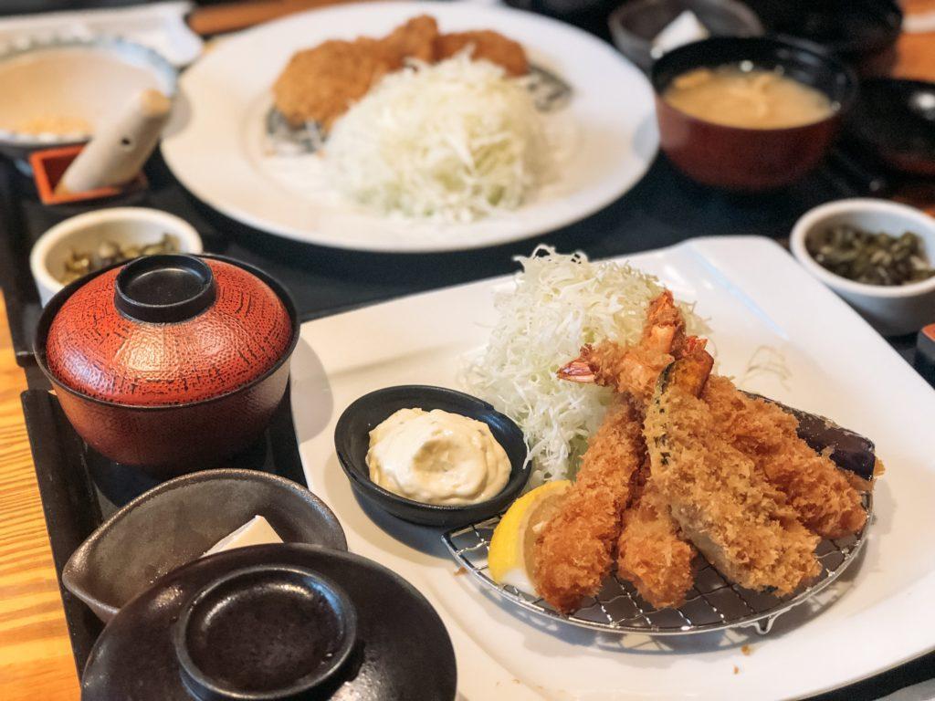 Plates of fried shrimp and pork (tonkatsu) in Nara, Japan