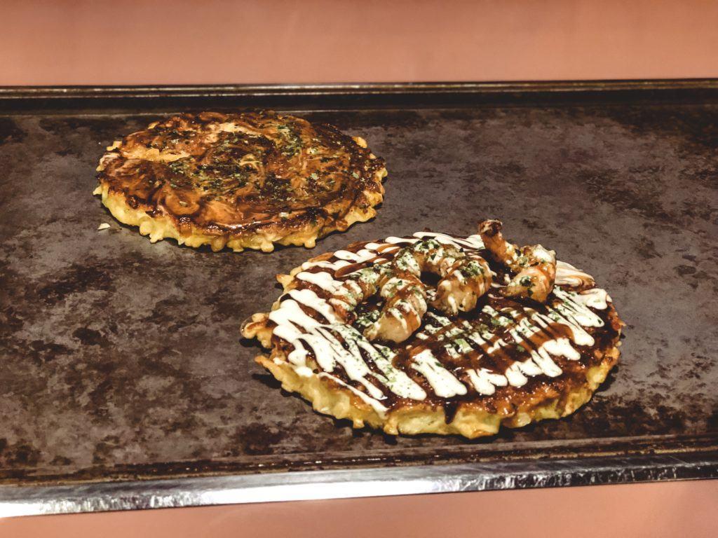 Okonomiyaki (Japanese savory pancake dish) from Parco in Nara, Japan
