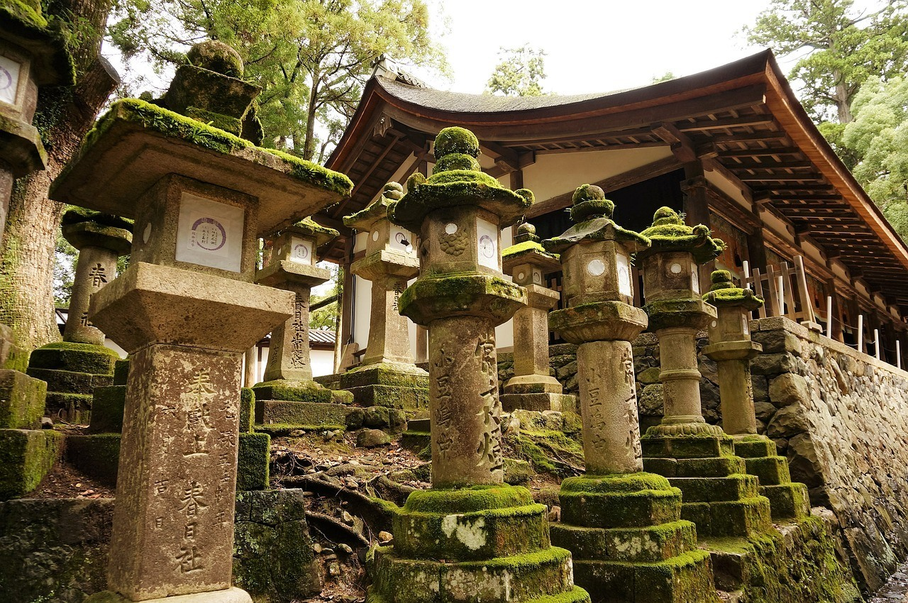 Japanese stone lanterns covered in green moss
