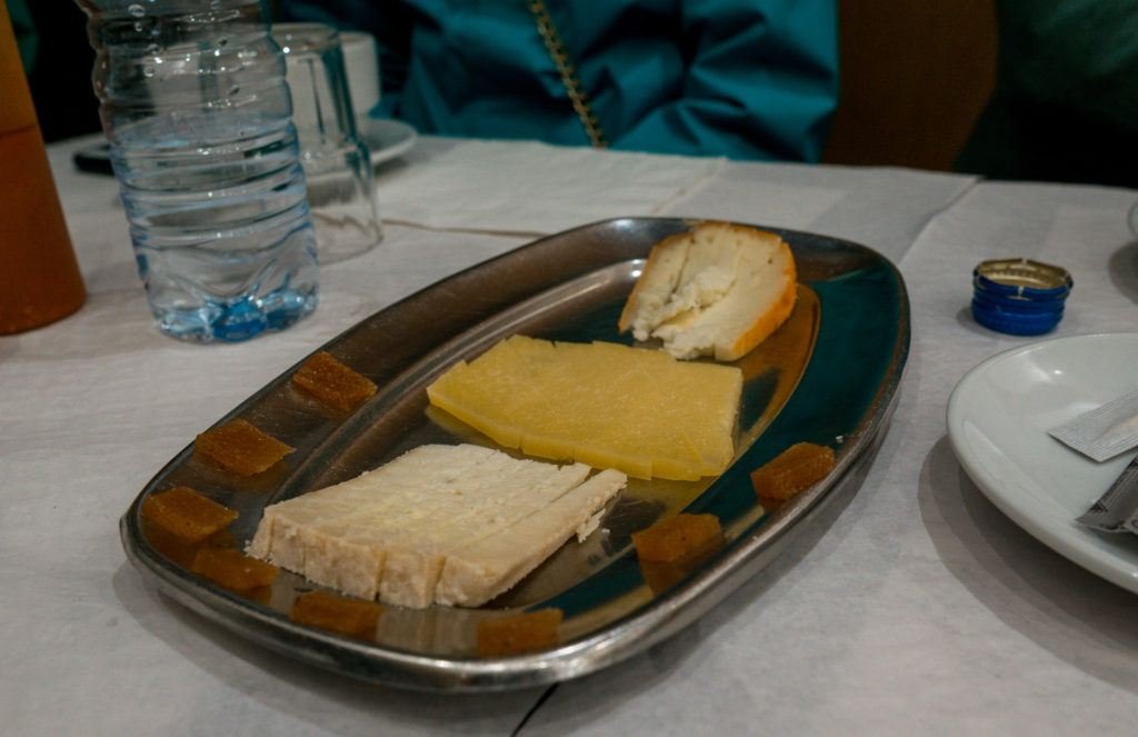 Portuguese cheese sampling with quince paste at Taste of Lisboa food tour