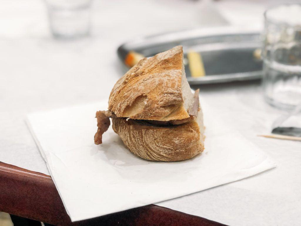 Bifana pork sandwich - Taste of Lisboa food tour