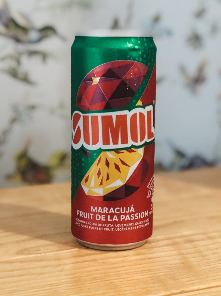 A can of passionfruit flavored Sumol