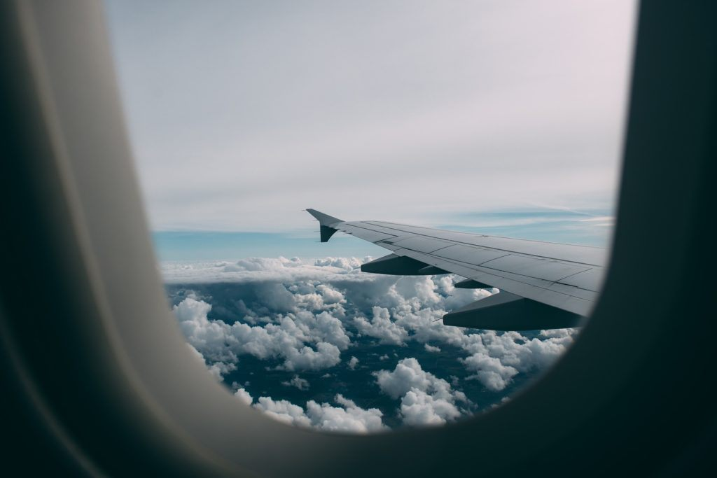 View from airplane window - how to start travel hacking