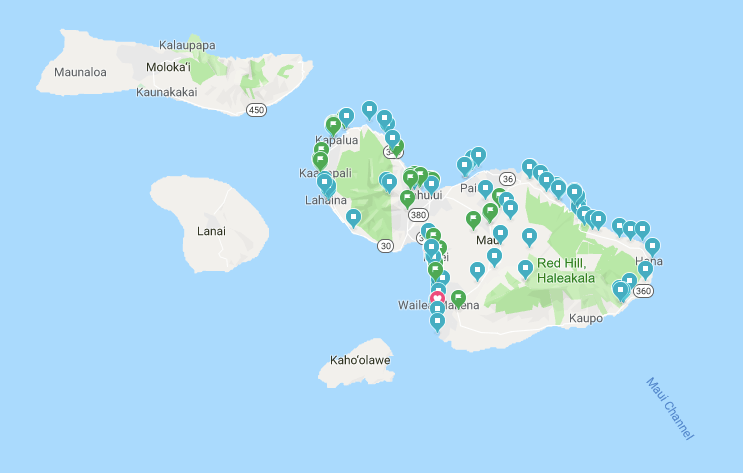 map of Maui - travel itinerary planner