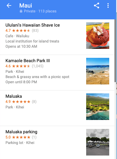 Maui list on Google Maps - travel itinerary planner