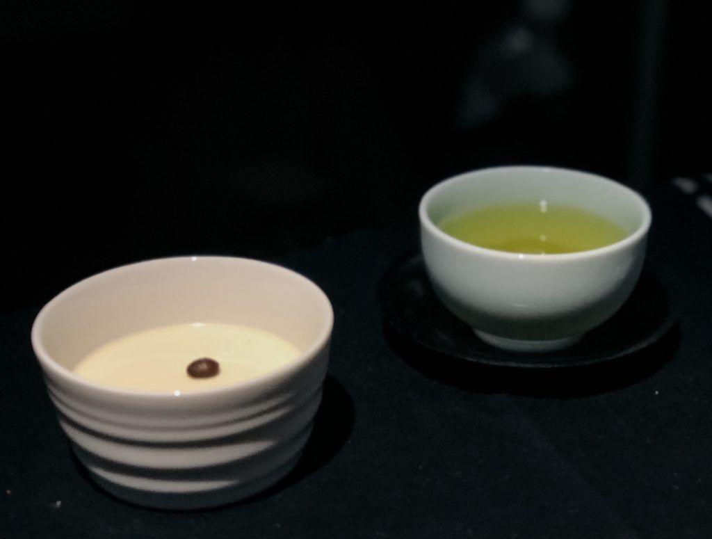 JAL business class custard pudding dessert with hot green tea