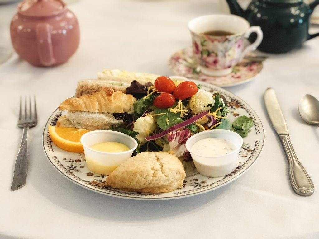Finger sandwiches, salad, and scone with lemon curd at Memory Lane Tea Room in Tulsa