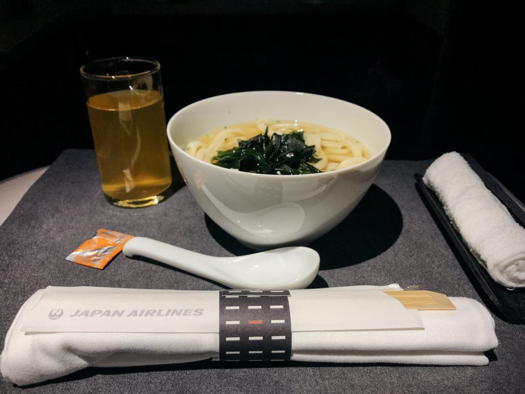 Bowl of udon on JAL Business Class
