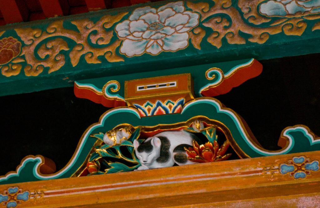 Sleeping cat wood carving at Toshogu Shrine.