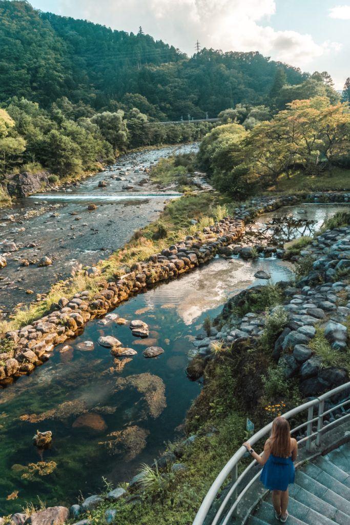 Walking path on the way to Kanmangafuchi Abyss in Nikko, Japan.
