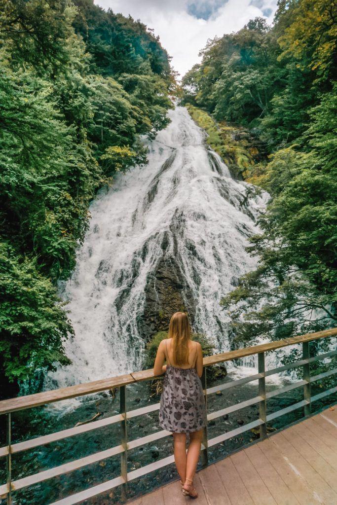 Viewing platform of Yudaki Falls in Nikko, Japan