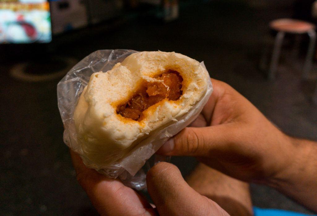 Steamed shrimp bun from Chinatown in Yokohama.