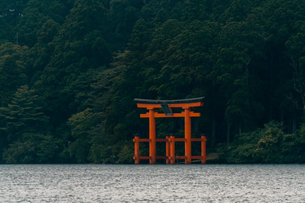 View of the Torii gate from Lake Ashi.