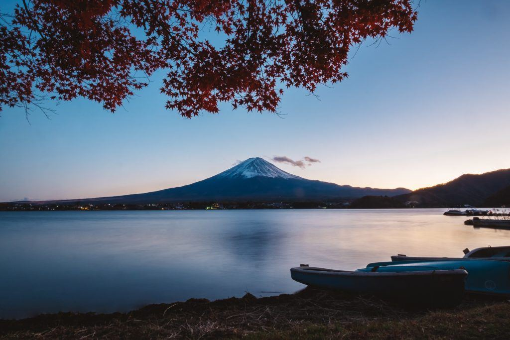 View of Mount Fuji from a lake.