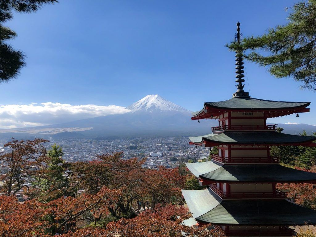 View of Chureito Pagoda and Mount Fuji